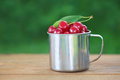 Cherries in iron cup on table Royalty Free Stock Photo