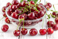 Cherries with leaves in a bowl on a white wooden background ripe Stock Photos