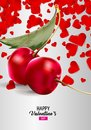 Cherries in Love Greeting Card. Royalty Free Stock Photo
