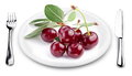 Cherries on a plate. Royalty Free Stock Images