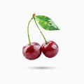Cherries in polygonal style. Vector illustration