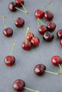 Cherries red on dark background above view Royalty Free Stock Photography