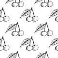 Cherries. Seamless pattern. Black hand drawn sketch on white background Royalty Free Stock Photo