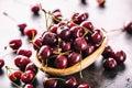 Cherries. Sweet Cherries. Fresh Cherries. Ripe cherries on wooden concrete table - board Royalty Free Stock Photo