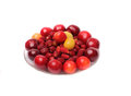 Cherries sweet cherries strawberries on white background berry meats summer berries Royalty Free Stock Image