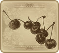 Cherries with vintage frame, hand-drawing. Vector illustration.