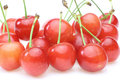 Cherries in a white background pictured group of Stock Photos