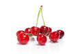 Cherries on white background red ripe isolated Royalty Free Stock Photos