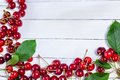 Cherries On White Boards Royalty Free Stock Photo