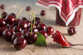 Cherries on a wooden table Stock Image