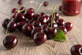Cherries on a wooden table Royalty Free Stock Photo