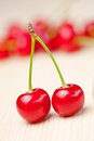 Cherries on wooden table ripe Royalty Free Stock Photos