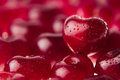Cherry background with cherry in form of heart. Ripe fresh rich cherries with drops of water. Royalty Free Stock Photo