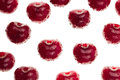 Cherry background. Ripe fresh  glossy rich cherries on white background. Isolated.  Macro.  Texture. Pattern. Fruit background. Royalty Free Stock Photo