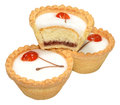 Cherry bakewell tarts individual isolated on a white background Royalty Free Stock Photo