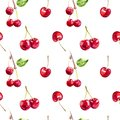 Cherry berries hand draw seamless watercolor fabric pattern.