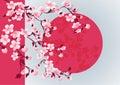 Cherry blossom art picture. Vector sakura tree