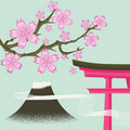 Cherry blossom, Fuji, Gate - Japanese spring Stock Photo