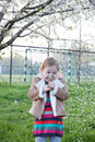 Cherry blossoms fall and a girl is verry surprised cute adorable nice little smiling sitting under or apple tree Stock Images