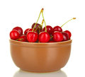 Cherry in brown bowl Royalty Free Stock Photos