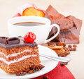 Cherry cake and cupcake chocolate cup of coffee with Stock Photo