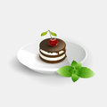 Cherry cake on white background Stock Images