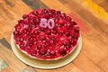 Cherry cheese cake with candles for 50th birthday Royalty Free Stock Photo