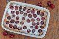 Cherry Clafoutis with powdered sugar Royalty Free Stock Photo