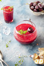 Cherry cold soup, gaspacho, gazpacho, smoothie in a glass Royalty Free Stock Photo