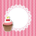 Cherry cupcake invitation card Royalty Free Stock Image