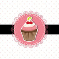 Cherry cupcake invitation card Royalty Free Stock Photography