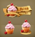 Cherry cupcakes, vector icons Royalty Free Stock Photo