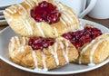 Cherry danish fresh baked pastry Stock Photos