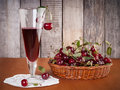 Cherry drink in the glass Royalty Free Stock Photo