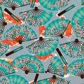 Cherry fan koi origami seamless pattern