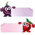 Cherry and fig vector cartoon illustration sweet ripe funny fruits with blank sign Royalty Free Stock Photos