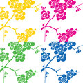 Cherry flower pop art background Royalty Free Stock Photo