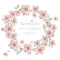 Cherry flowers blossom wreath card. Vector illustration. Delicate decor for anniversary, wedding, birthday, events.