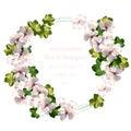 Cherry flowers wreath watercolor invitation card. Vector vintage wedding bouquet