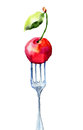 Cherry on the fork watercolor illustration Royalty Free Stock Images