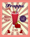 Cherry frappe poster with fruit drinking strew and glass in retro style vintage illustration Royalty Free Stock Photo
