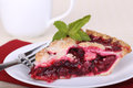 Cherry fruit pie slice of on a plate Royalty Free Stock Photography