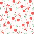 Cherry fruit seamless vector pattern background. Hand drawn tossed paper cut out. Matisse style. 1950s garden folk art summer