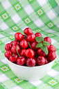 Cherry fruits in white bowl Stock Image