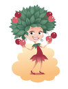 Cherry girl cartoon with a tree instead of a hair on her head smiling and holding fruits Stock Photography