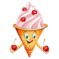 Cherry ice cream cartoon over white Royalty Free Stock Images