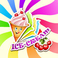 Cherry ice cream cartoon and text banner Stock Images