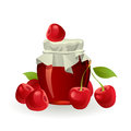Cherry jam with fresh cherries on white Royalty Free Stock Image