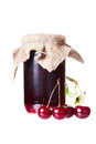 Cherry jam glass jar Royalty Free Stock Photo