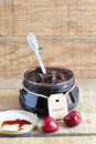 Cherry jam in a glass jar with label Royalty Free Stock Photo